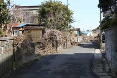 津波でブロック塀の上に漂流物がたくさん引っかかっている様子